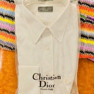 Vintage Dior Men White Dress Business Shirt NWT